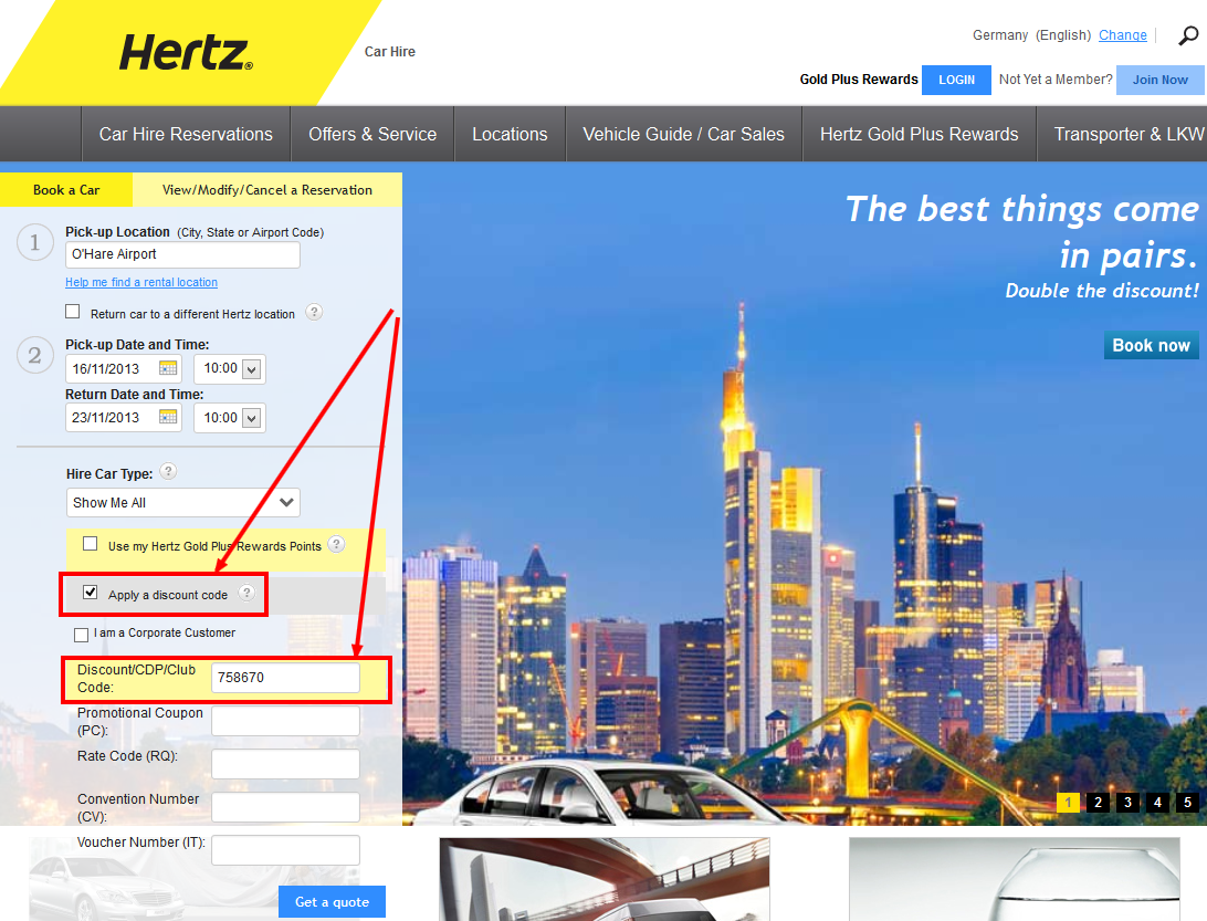 Official Hertz Promo Codes & Coupons Find all special offers and discounts here on this page for your next Hertz Car Rental! We can save you up to 30% off, and you'll even find deals for renters under
